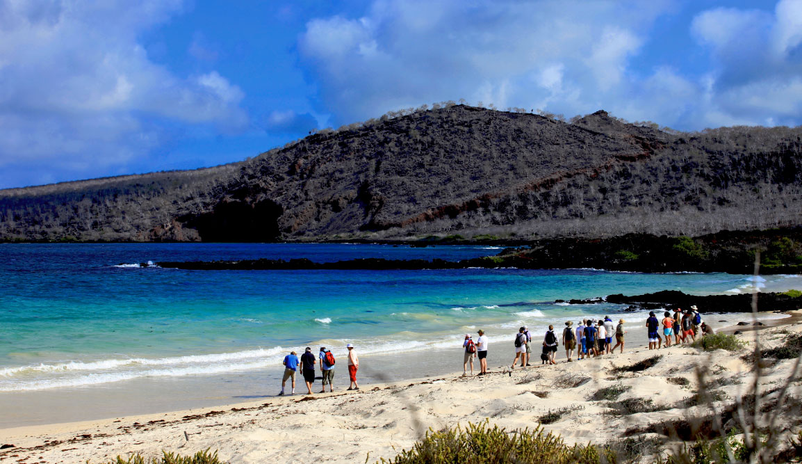 Cormorant Point - Floreana in the Galapagos Islands, view of the beach with tourist watching the sea and hills