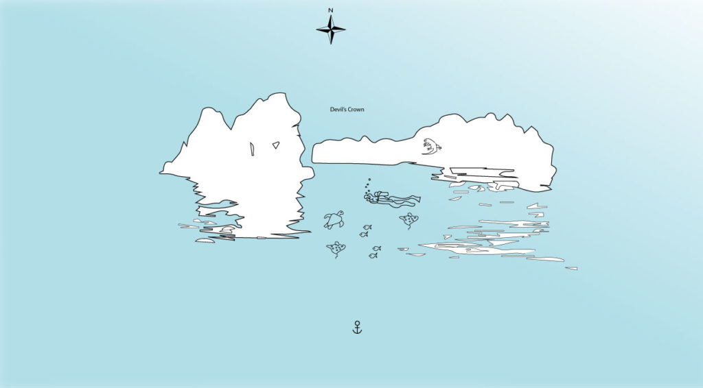Devil's Crown in Floreana Island Illustrated map with animals an routes