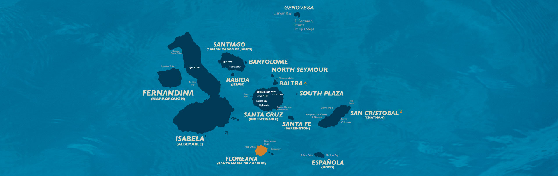 Galapagos Islands map, Floreana marked