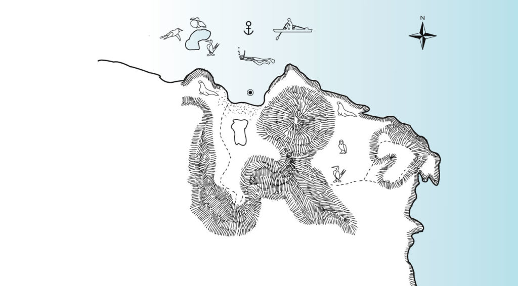 Illustrated map of Pitt Point in San Cristobal Island with animals and routes