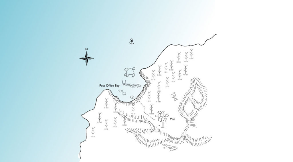 Post Office in Floreana Island illustrated map with animals and routes