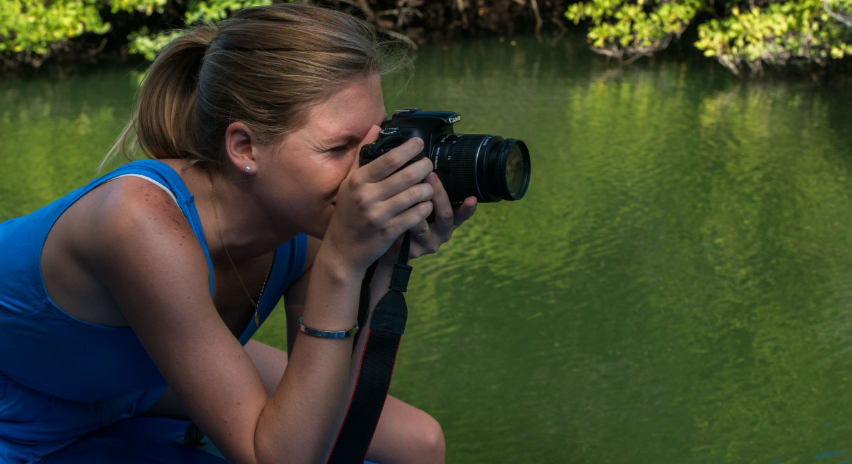 Black Turtle Cove - Santa Cruz in the Galapagos view of mangrove and tourist taking pictures