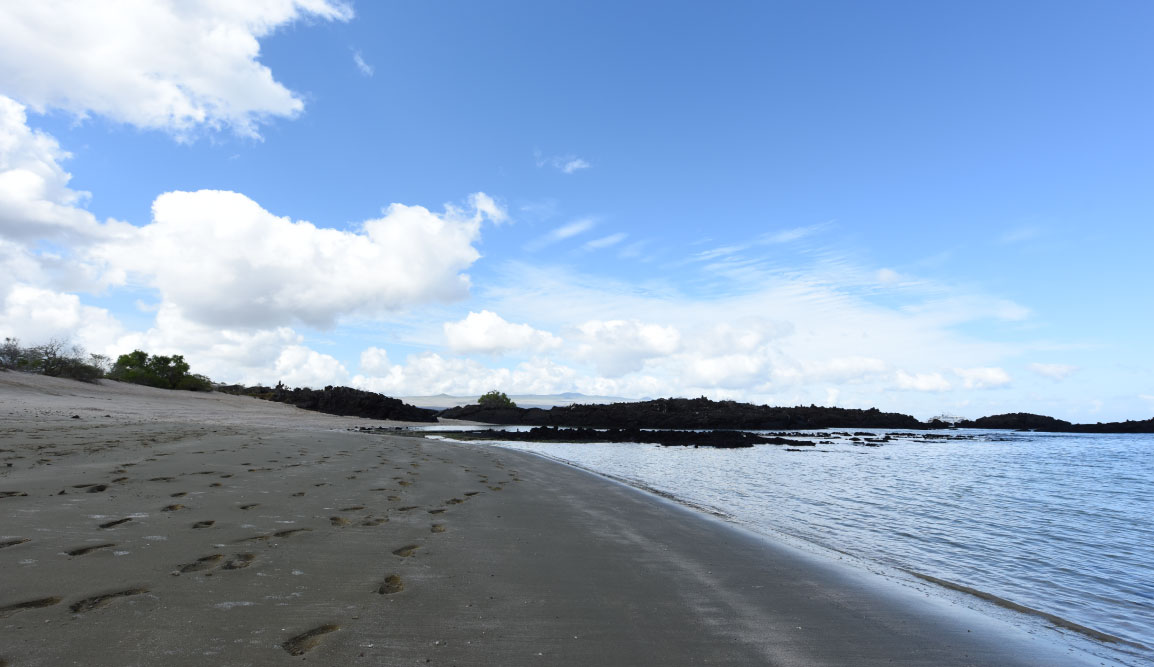 Cerro Brujo - San Cristobal in Galapagos Islands, view of the beach landscape with a blue sky