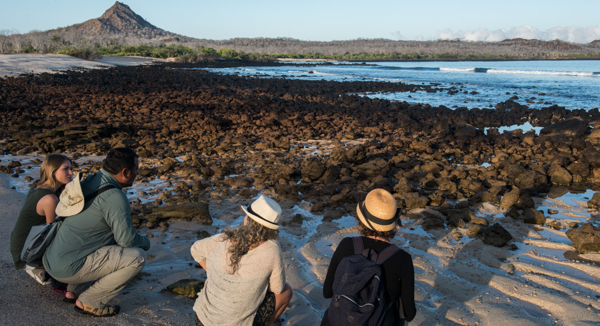Dragon Hill - Santa Cruz in the Galapagos Islands, view of volcanic beach and tourist resting on the seashore