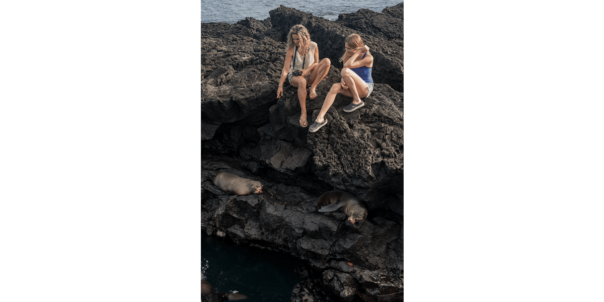 Two tourists watching two Galapagos fur seals resting in Santiago Egas Port
