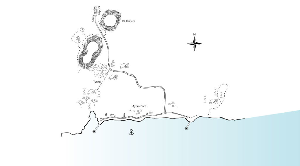 Illustration map of Higlands in Santa Cruz Islands