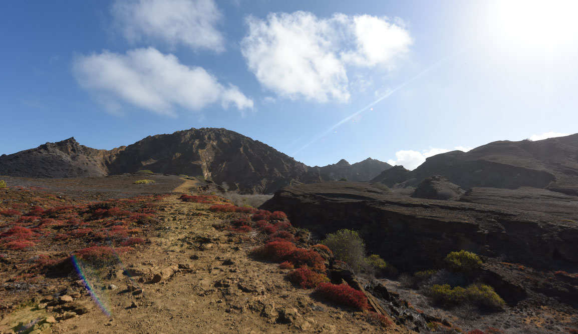 Pitt Point - San Cristobal in Galapagos Islands, view of a landscape with earth and sky