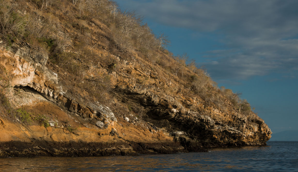 Tagus Cove - Isabela in the Galapagos Islands, view of rock on the sea