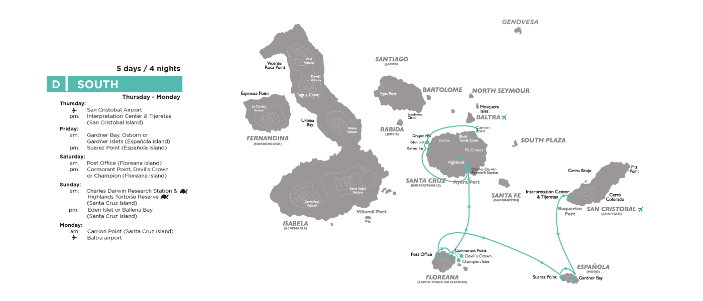 Map itinerary D Galapagos Legend