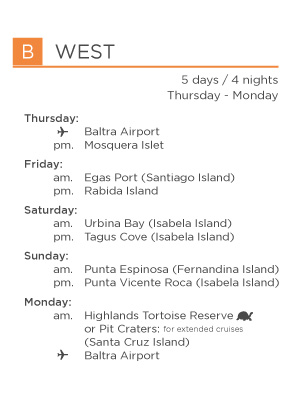 B West galapagos legend itinerary for Genovesa landing page