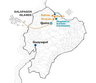 Ecuador map's with routes from Quito Highlands to THE Galapagos Islands