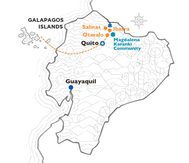 Ecuador map with route from Quito to Imbabura after Galapagos