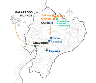 Ecuador and Galapagos map with routes