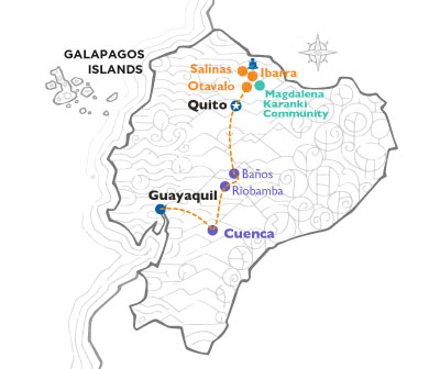 ECUADOR HIGHLIGHTS Map with routes