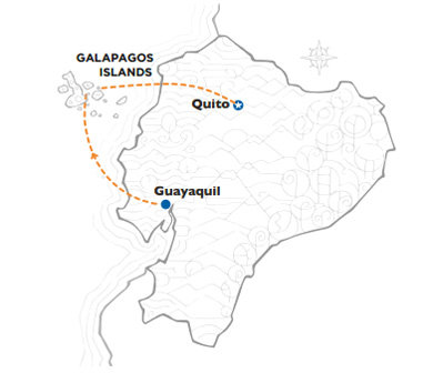 Ecuador map whit routes for go package 1