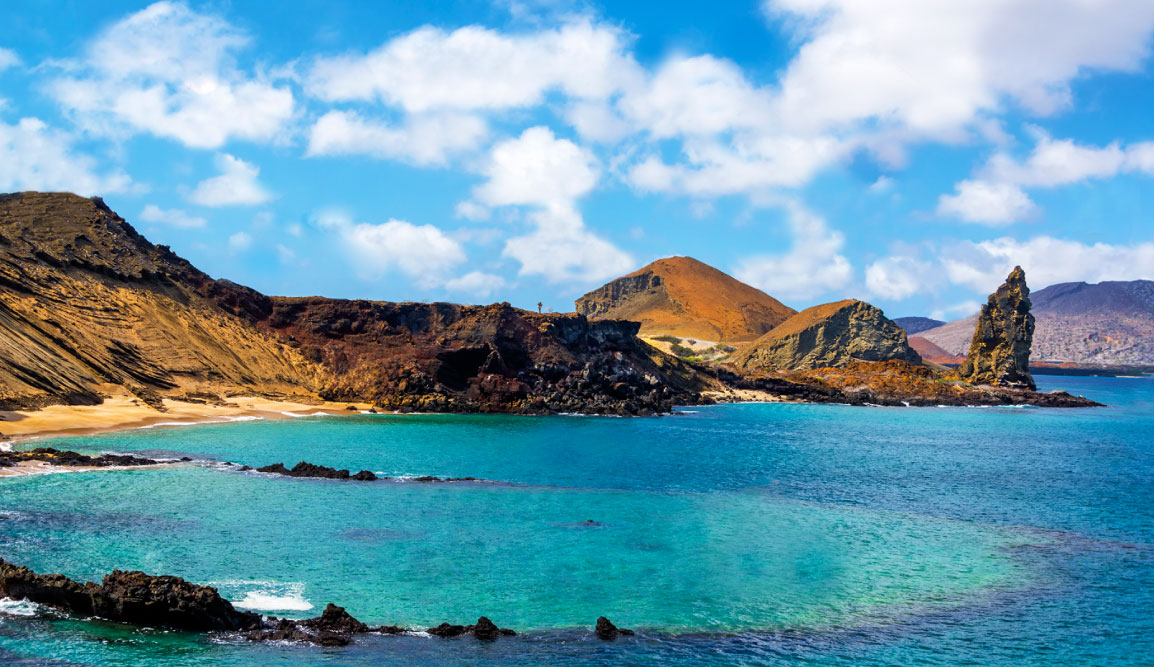 Bartolome in Galapagos Islands landscape, beautiful view of the island and sea