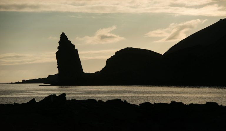 Bartolome in Galapagos Islands landscape, view of silhouettes