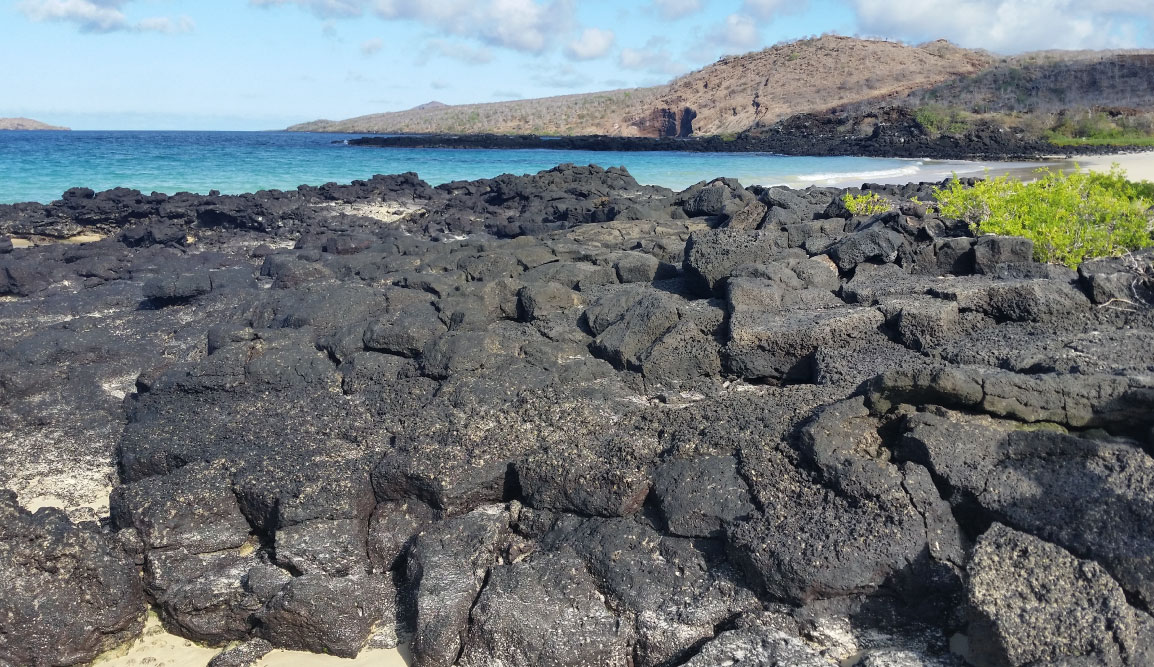 Cormorant Point - Floreana in the Galapagos, view of the volcano and the sea