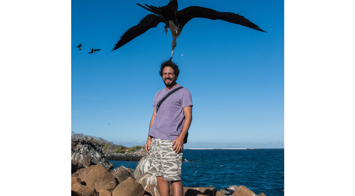 North Seymour in Galapagos Islands with tourist playing with a frigate