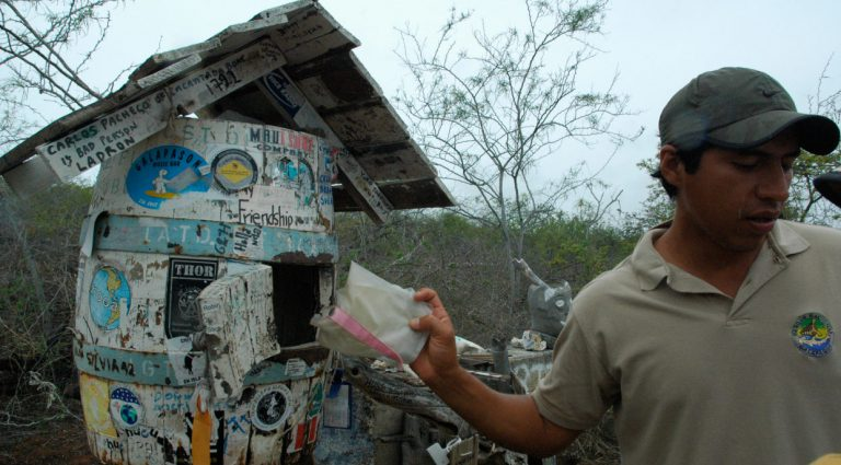 Post Office - Floreana Island in the Galapagos, guide showing letters