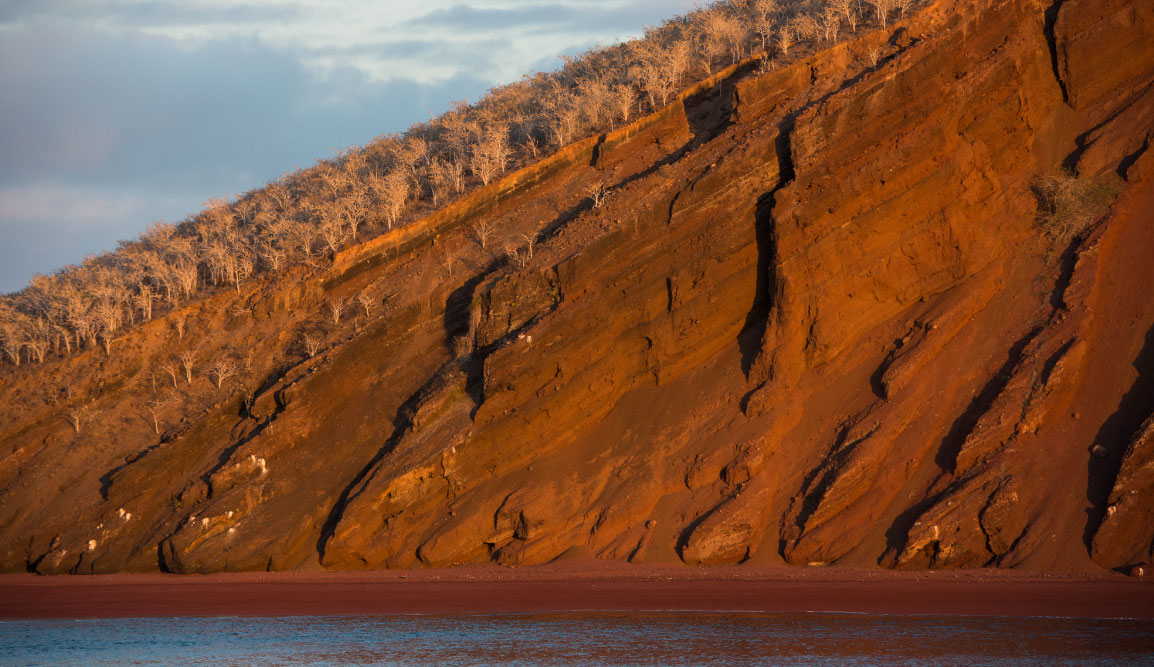 Rabida in Galapagos Islands, view of the red sand