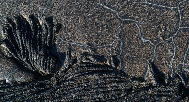 Sullivan bay in Santiago Island, solid lava