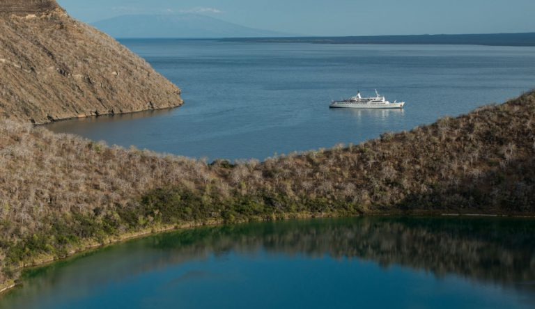 Tagus Cove - Isabela in the Galapagos Islands, view of the Galapagos Legend in the sea